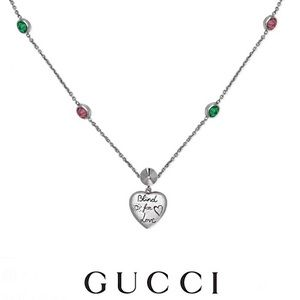 New Authentic Gucci Blind For Love Heart Necklace